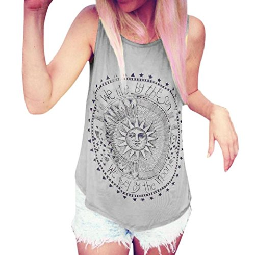 JUTOO Frauen Sonne Gedruckt Bluse Sleeveless Weste T-Shirt Bluse Casual Tank Tops (X-Large, Grau) - Dragon Frauen Z-kleidung Ball Für