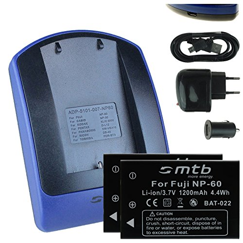 2 Baterìas + Cargador (USB/Coche/Corriente) para Fuji NP-60 / Toshiba PA1733E, PDR-BT3 / Ricoh DB-40 / +weitere... - ver lista