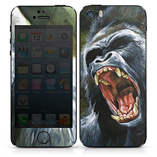 Apple iPhone SE Case Skin Sticker aus Vinyl-Folie Aufkleber Gorilla Affe Dschungel DesignSkins® glänzend
