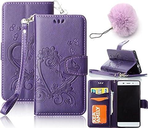 Coque Motorola Moto G4 Etui ,Vandot Love Symbole Housse pour Motorola Moto G4 PU Cuir Portefeuille Case Cas Skin Swag Protection Protecteur D'écran Bumper avec Pratique Fonction Stand Fermeture Magnétique Credit Carte Pochette + Luxe Mode boules pendentif -Purple