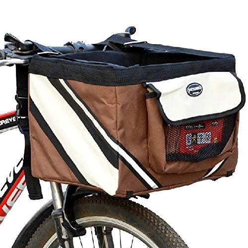 OTENGD Pet Fahrradträger Hundekorb für Fahrräder Vordersitztasche mit großen Seitentaschen und weichem Polster Atmungsaktive Belüftung Ideal für Hunde Welpen Katze Reise Braun
