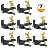 8PCS Accordatori per violino Accordatore per accordatore per archi in metallo per 4/4-3/4 Archi per violino in metallo nichelato antiruggine (nero + oro)