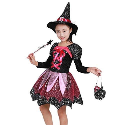 FORH Kinder Halloween Kleidung Umhang Böse Königin Hexe Cosplay witch Fledermaus Kleid Kostüm Party Kleider + Hut Outfit +Kürbis Tasche