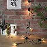 Guirlande Lumineuse Guinguette 10 Ampoules à LED sur Câble Noir Intérieur Extérieur Waterproof (à Piles) 4,50 Mètres (Ampoule Transparente)
