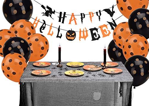 Lelengder Halloween Party Supplies | Party-Gefälligkeiten, Banner + 8 Papier Platten + 12 Ballons + 20 Spinnen für Halloween-Party-Dekorationen