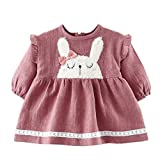 LIAOMNKJ Little Toddler Girl Ruffle Dress Vestito da coniglietta con i Coniglietti Size 73 (Pink)