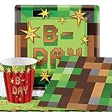 TNT Pixel Party - Minecraft Kindergeburtstag Party Deko Set - Für 8 Personen