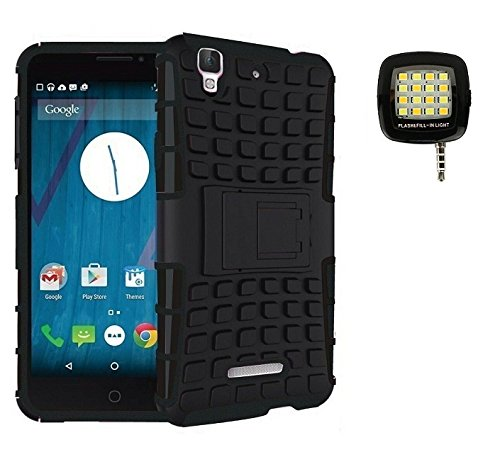 Jma Kick Stand Hard Dual Rugged Hybrid Back Case With 16 LED Spotlight Smartphone Led Flash Fill Light For Micromax Yu Yureka AQ5510 - Black