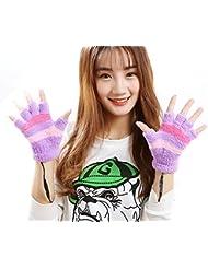 Guantes sin dedos USB 2,0 climatizada para diseño de la raya de la felpa guantes de invierno caliente Calentador de la mano para las mujeres las jóvenes