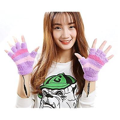 Guantes sin dedos con calefacción (USB 2.0, diseño de rayas, invierno cálido peluche portátil manoplas calentadores de mano para mujer Teen Girls