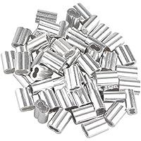 50 piezas de 3 mm cuerda de alambre de doble agujero de aluminio mangas Clips Crimping Loops tono plata