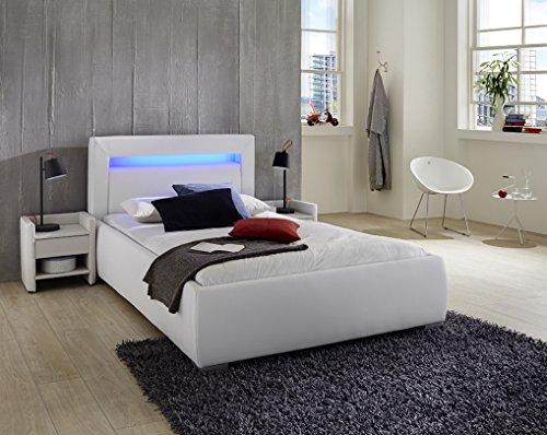 XXS® Lumina Polsterbett 180 x 200 cm in weiß, Bett mit gepolstertem Kopfteil und pflegeleichter Oberfläche, LED-Beleuchtung im Kopfteil, auch als Wasserbett verwendbar