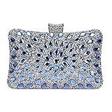 Bolso de Noche Lujo Bolso de Hombro Mujer Glitter Diamond Hard Shell Clutches para Boda,Fiesta,Baile, Bolsos de Diamantes de imitación-Azul