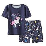 MyFav Big Girls Summer Pyjama Sets Cute Horse Sleepwears Cartoon Children PJS