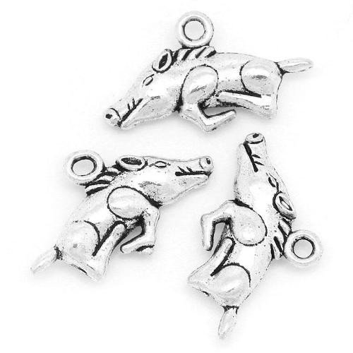 Pacco 10 x Argento Antico Tibetano 22mm Ciondoli Pendente (Cinghiale) - (ZX04670) - Charming Beads