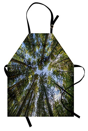 ABAKUHAUS Natur Kochschürze, Wilder Dschungel-Moos-Waldkronen-Baum verlässt Natur-Foto-Grafik-Druck, Farbfest Höhenverstellbar Waschbar Klarer Digitaldruck, Himmelblau - Grafik Alter Druck