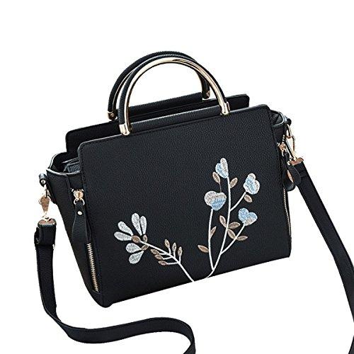 Mode Stickerei Einfache Lederhandtasche Umhängetasche Schultertasche Multicolor Black