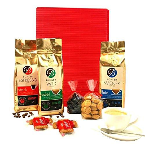 Kaffee Geschenkset Weltreise | Geschenkkorb gefüllt mit 3x exklusiven Kaffeebohnen, Schokolade und...
