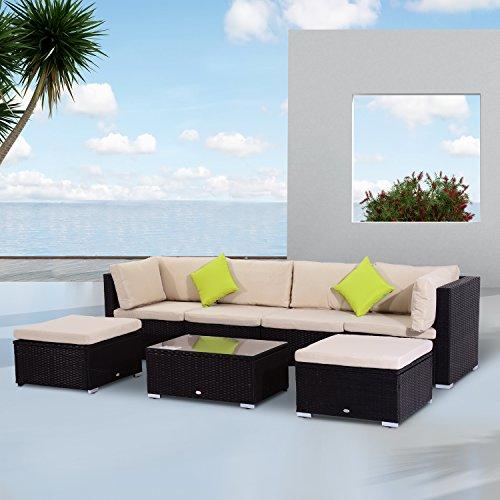 Outsunny 7 Pcs Rattan Garden Furniture Patio Outdoor