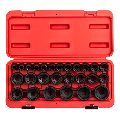 SUNEX 2645 entraînement 1/5,1 cm douilles à choc, métrique, Standard, 6 pans, Cr-Mo, 10 mm - 36 mm, lot de 26