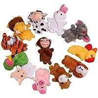 Tefamore 12Pcs Zodiac Soft Animal Puppet Finger Toys