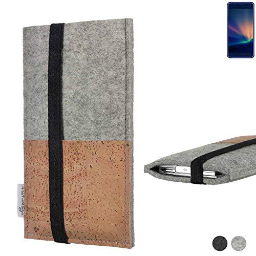 flat.design Handy Hülle Sintra für Hisense A2 Pro Handytasche Filz Tasche Schutz Kartenfach Case Kork