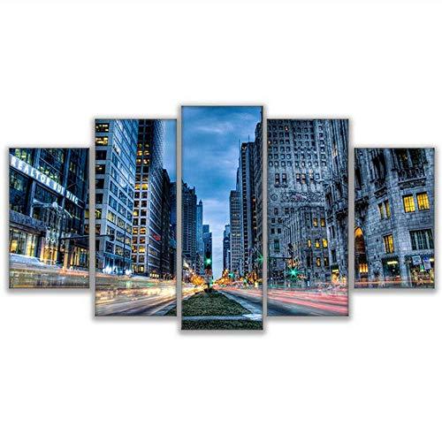 dulare Bilder 5 Panel City Of Chicago Druck Malerei Für Wohnzimmer Cuadros Plakatrahmen Hochwertige Leinwand-40X60/80/100Cm,With Frame ()