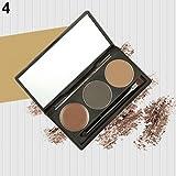clifcragrocl Polvo de Cejas,3 colores de cejas en polvo de cejas cepillo de paleta de sombreado herramienta de maquillaje Comestic Set - # 4