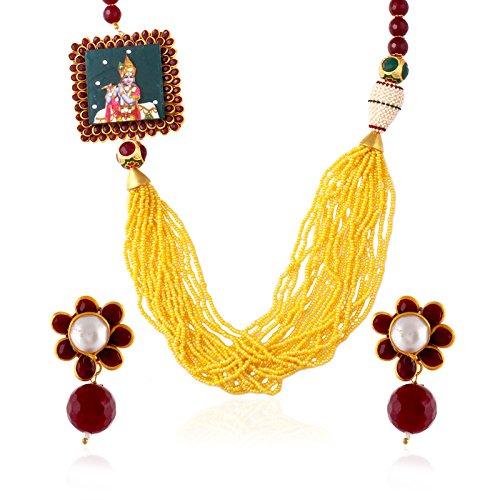 fasherati Krishna Anhänger mit Gelb Multi Perlen Halskette Set für Mädchen -