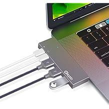 "USB C Hub Okapia Alluminio Lega Adattatore USB 3.0 Tipo C con porta Thunderbolt 3, ricarica USB C via Pass-Through, 3 USB 3.0 SuperSpeed, Plug & Play per nuovi MacBook Pro 2016 e 2017 13""/15"""
