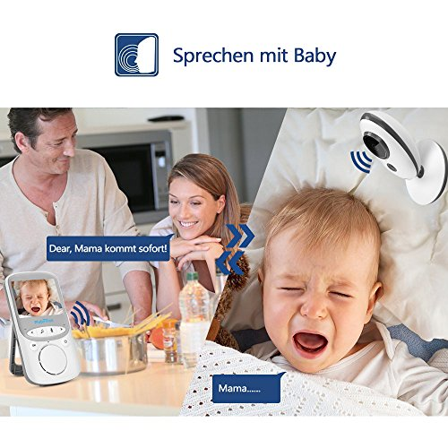 "Babyphone 2.4 GHz Baby monitor 2.4"" HD Digital  Video Babykamera Mit VOX Funktion Wireless Weiß - 3"