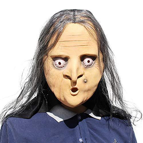JASNO Neuheit Latex Gummi Parodie Horror Scary Hexe Maske Halloween Kostüm Party Kostüm Dekorationen (Halloween Gesicht Hexe Für Bemalen)