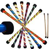 Flames N Games TWISTER Pro Devil Stick Set (3-Farben Deko) + Silikonbeschichtete HÖLZERN Handstäbe! Juggling Devil Sticks 4 Anfänger & Profis! (Rot / Blau / Schwarz)