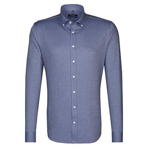Seidensticker Herren Langarm Business Hemd Tailored Print BD Button-Down-Kragen Struktur 247152 (Blau, 42) Button-down-band