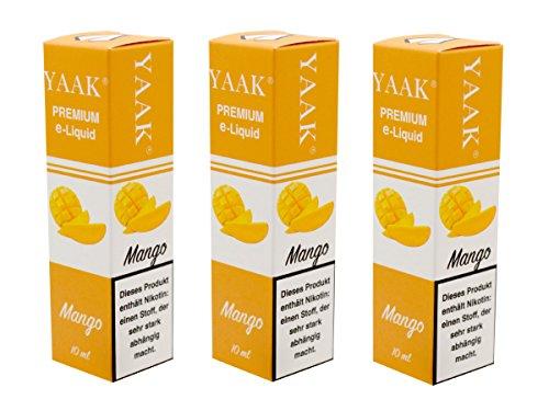 YAAK® Premium E-Liquid / Liquid 3 x 10 ml Mango ohne Nikotin / E-Zigaretten, Elektrische-Zigarette, E-Shisha / Geschmacksaroma Mango