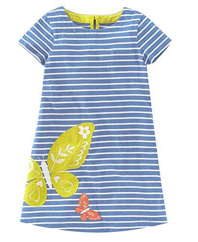 Heiße Mädchen T-shirt (Kaily Mädchen Sommer Baumwolle Kurzarm Süß Streifen T-Shirt Kleid(S0131,6T))