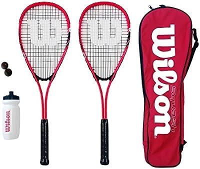 Wilson Hyper Team 500 - Conjunto de squash (2 raquetas, 3 pelotas, bolsa y botella)