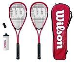 Wilson Hyper Team 500 - Set composto da racchetta da squash con palline e borraccia