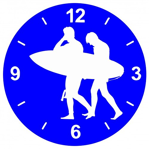 """Glasuhr Ø 30cm """"JUNGE- MENSCHLICHE- MÄNNLICH- MANN- MENSCHEN- PERSON- SILHOUETTE- SURFER- STRAND- WASSER- SURFBRETT- SURFEN"""" in Blau - aus Glas- Wand Uhr- Regaluhr- Bestseller- Spass- Kult- Motiv Geschenkidee Ostern Weihnachten"""