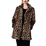 Comeon neu Damen Sexy modern Herbst Winter slimm fit Leopard-Druck Kunstpelz Pelz Parke Outwear Mantel (S, Braun)