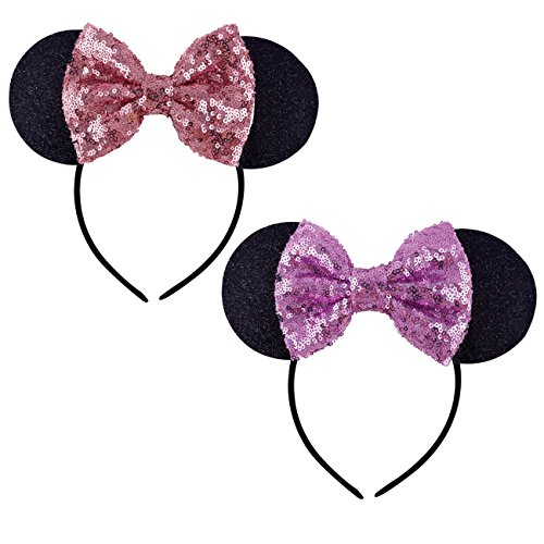 DRESHOW Mickey Ears Headbands Sequin Hair Band Accessories for sale  Delivered anywhere in UK