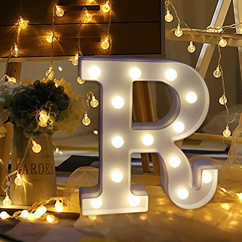 ODJOY-FAN 26 Englisch Brief Licht LED Letter Light Alphabet LED Beleuchtung Licht Oben Weiß Kunststoff Briefe Stehen Hängend A-M Wohnaccessoires Lichter Zubehör (R,1 PC)
