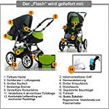"14 teiliges Qualitäts-Kinderwagenset 2 in 1 ""FLASH"": Kinderwagen + Buggy – Megaset – all inklusive Paket in Farbe ANTHRAZITE-ORANGE - 3"