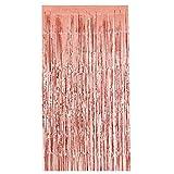 squarex Rose Gold Tür Vorhang Fransen Girlanden Alle Farben und Packungen Folie Vorhänge, 2x 1Meter, Voile, Rose Gold, Size:2X1m