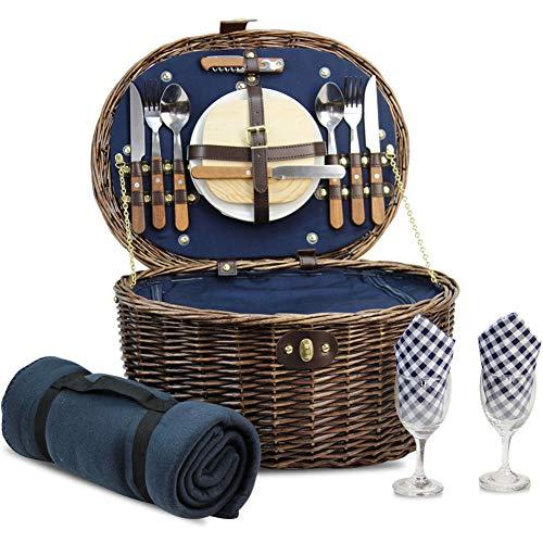 HappyPicnic 'Ovale' Cestino da picnic in vimini con servizio per 2persone con Built-in termico, cestino da picnic in vimini, set da picnic in vimini naturale, picnic cesto regalo (blu navy)