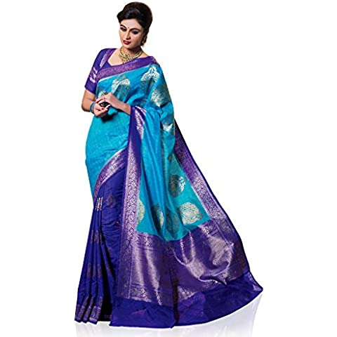 Meghdoot Women's Woven Kanchipuram Spun Silk Saree Turquoise Blue and Royal Blue Color Sari