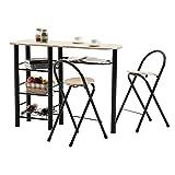 IDIMEX Ensemble STYLE table haute de bar mange-debout comptoir 2 chaises tabouret, 3 tablettes 1 repose-bouteilles, table assise en MDF décor chêne sonoma piètement métallique noir