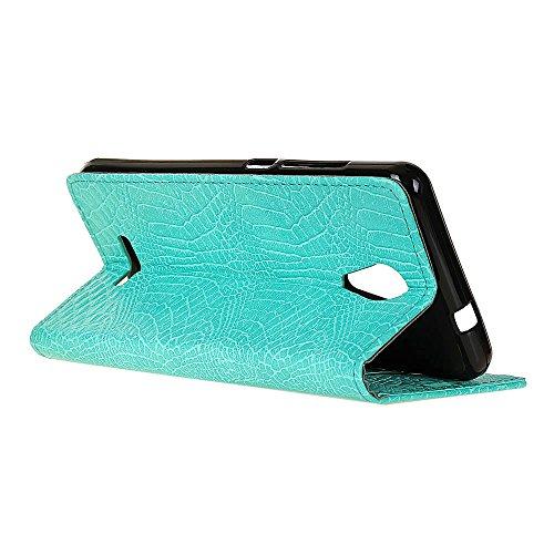 Krokodil Haut Textur Muster Kunstleder Folio Stand Case Soft Silikon Abdeckung mit Kartensteckplätzen für WIKO Tommy 2 ( Color : Blue ) Green
