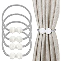 "Magnetic Curtain Tiebacks,4 Pieces 19"" Curtain Rope and Magnetic Tieball,Decorative Curtain Tiebacks for Home, Office, Hotel Window Decoration,Pretty and Fashion"