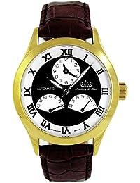 Lindberg & Sons Reloj automático para hombre con esfera negra pantalla analógica y negro correa de piel hq22035